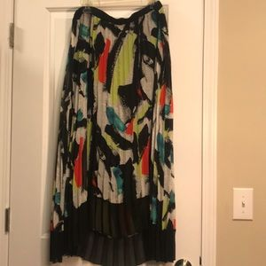NEW DIRECTION SHEER PLEATED HI/LO MAXI SKIRT 16